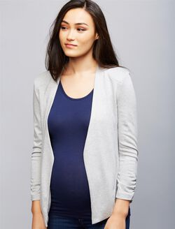 Open Front Maternity Jacket, Grey Stripe