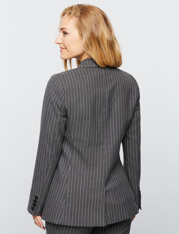 Pinstripe Button Detail Maternity Blazer, Gray/White