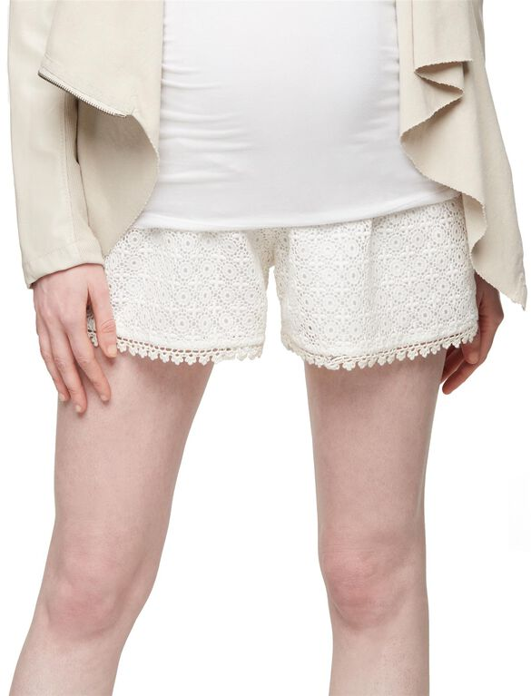Secret Fit Belly Crochet Lace Maternity Shorts, Off White