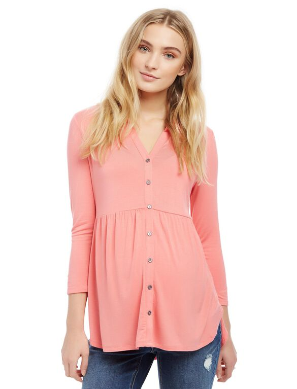Button Front High-low Hem Maternity Tunic, Coral