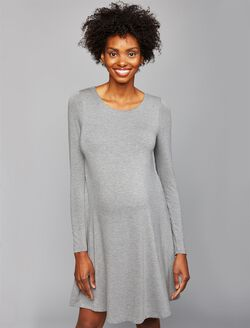 Twist Back Maternity Dress, Grey