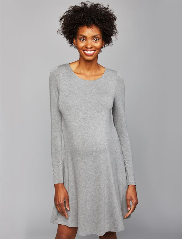 A-line Maternity Dress, Grey