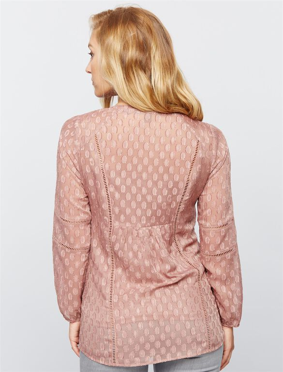 Daniel Rainn Embroidered Maternity Blouse, Pink