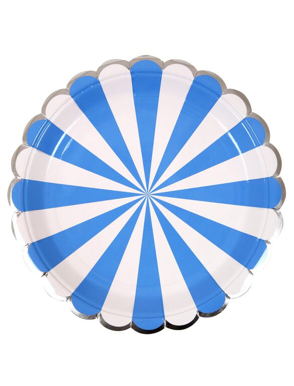 Meri Meri Striped Small Paper Plates, Blue Stripe