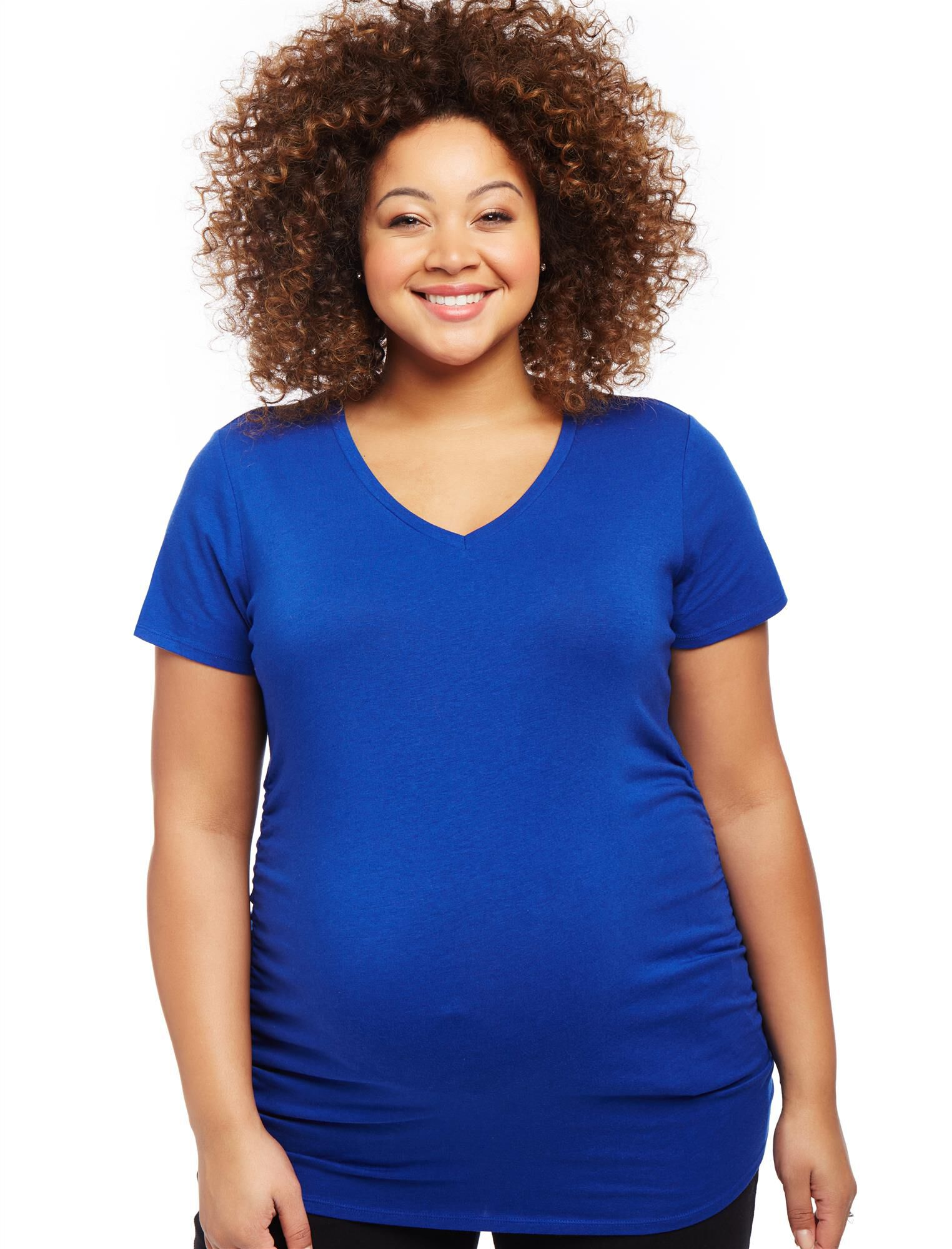 Plus Size Side Ruched Maternity T Shirt