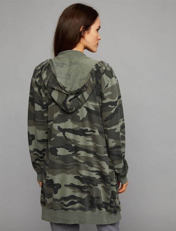 Splendid Camo Zip Up Maternity Hoodie, Vintage Olive