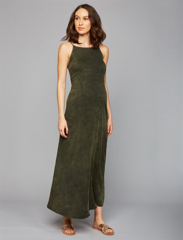 Chaser Lace Up Back Maternity Maxi Dress, Olive