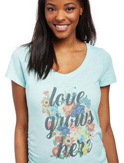 Love Grows Here Maternity Tee, Teal