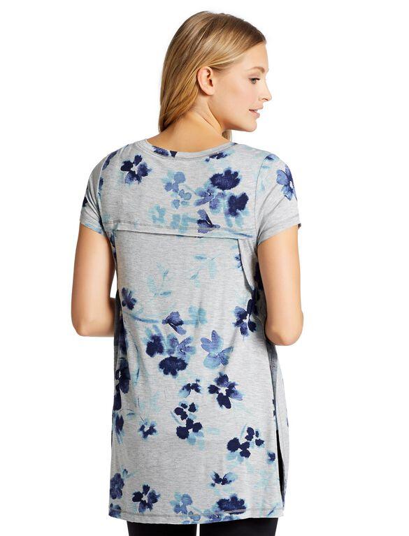 Jessica Simpson Pull Over Side Slit Nursing Top, Blue Floral