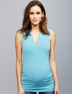 Ruched Maternity Tank Top- Solid, Tranquil Turq
