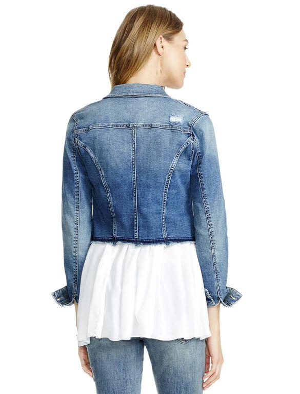 Jessica Simpson Frayed Hem Denim Maternity Jacket, Light Wash