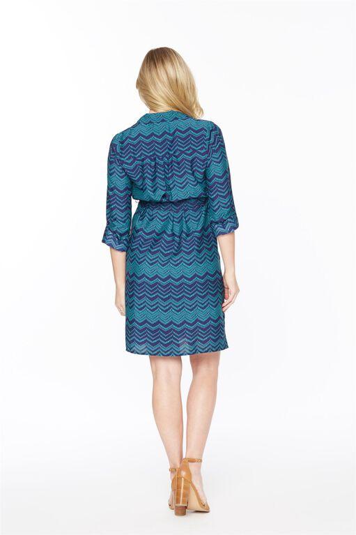 Tie Detail Print Maternity Shirt Dress, Green/Blue