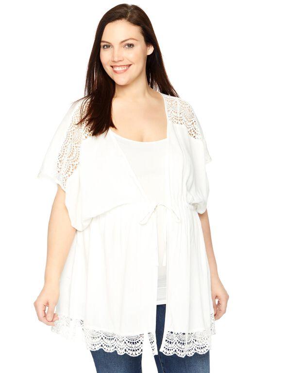 Plus Size Lace Trim Maternity Kimono, Cloud Dancer