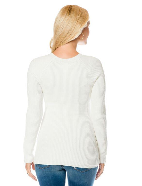 Zipper Detail Maternity Sweater, Soft White