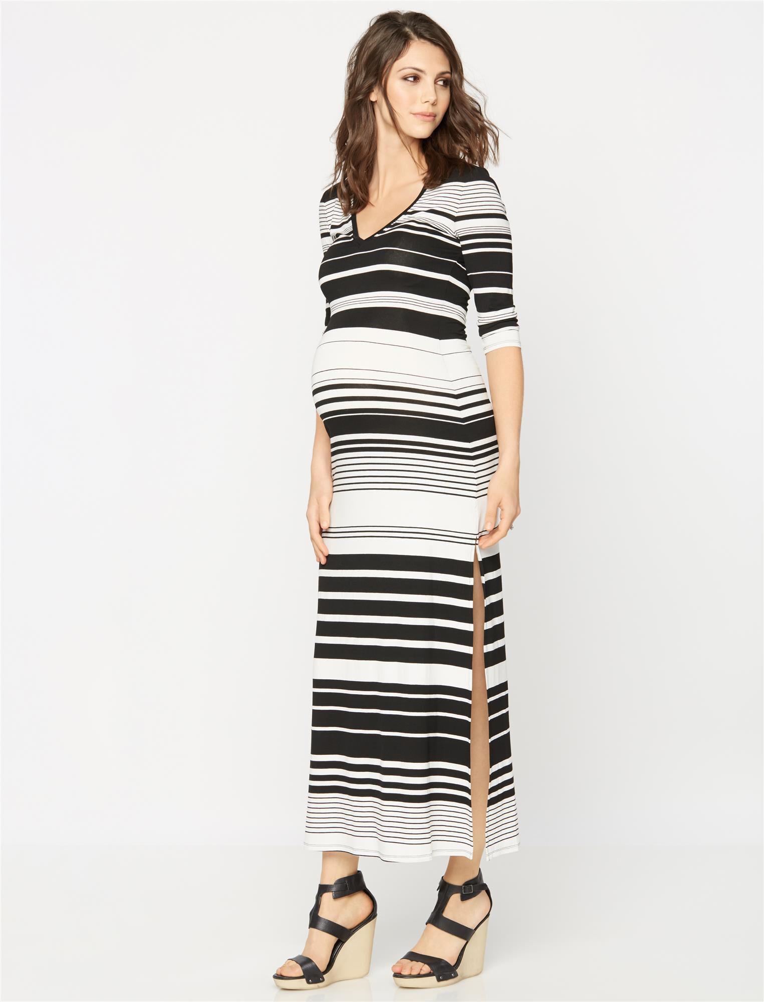 BCBGMAXAZRIA Striped Maternity Maxi Dress