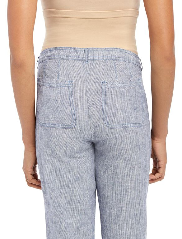 Secret Fit Belly Linen Maternity Pants, Blue/White Railroad