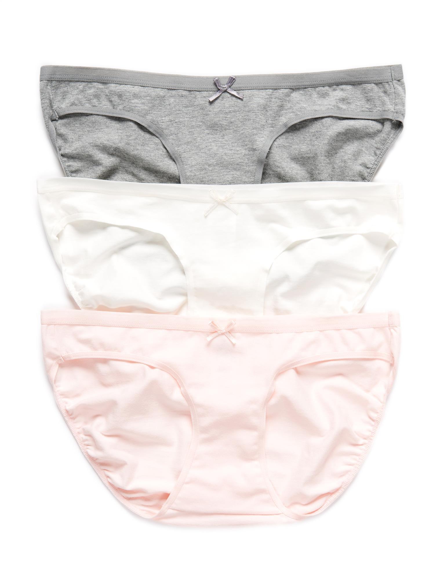 Maternity Bikini Panties (3 Pack)- Grey/White/Pink
