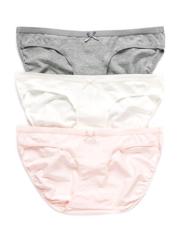 Maternity Bikini Panties (3 Pack)- Grey/White/Pink, Pink/Cloud/Grey