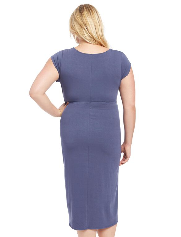 Plus Size Tulip Hem Maternity Dress- Blue, Nightshadow Blue