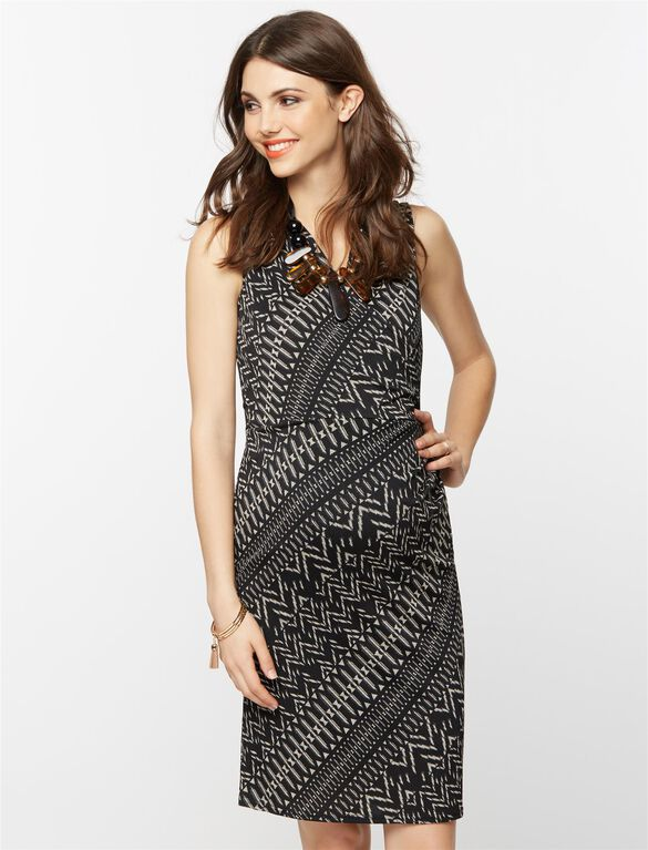 Collective Concepts Sleeveless Wrap Maternity Dress, Black & White Print