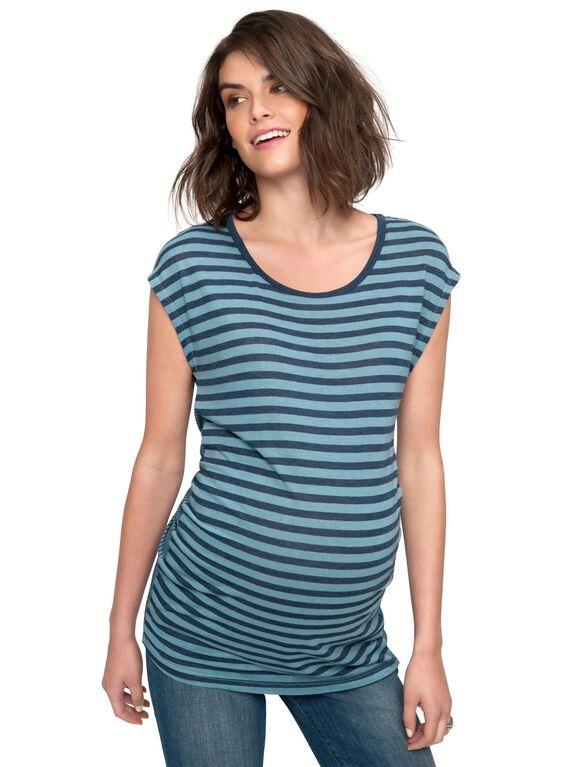 Splendid Chevron Stripe Maternity T Shirt, Grey Mist