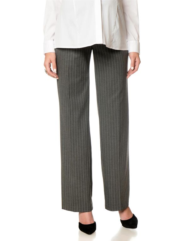 Secret Fit Belly Bi-stretch Suiting Wide Leg Maternity Pants, Charcoal Pin Stripe