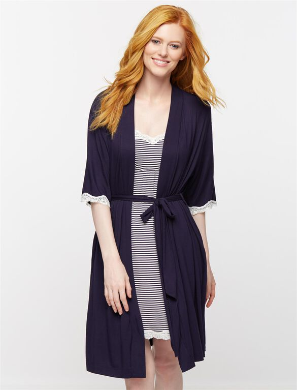 Clip Down Nursing Nightgown and Robe- Navy Stripe, Navy Stripe