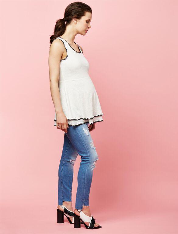 7 For Mankind Secret Fit Belly Straight Leg Maternity Jeans, Medium Wash