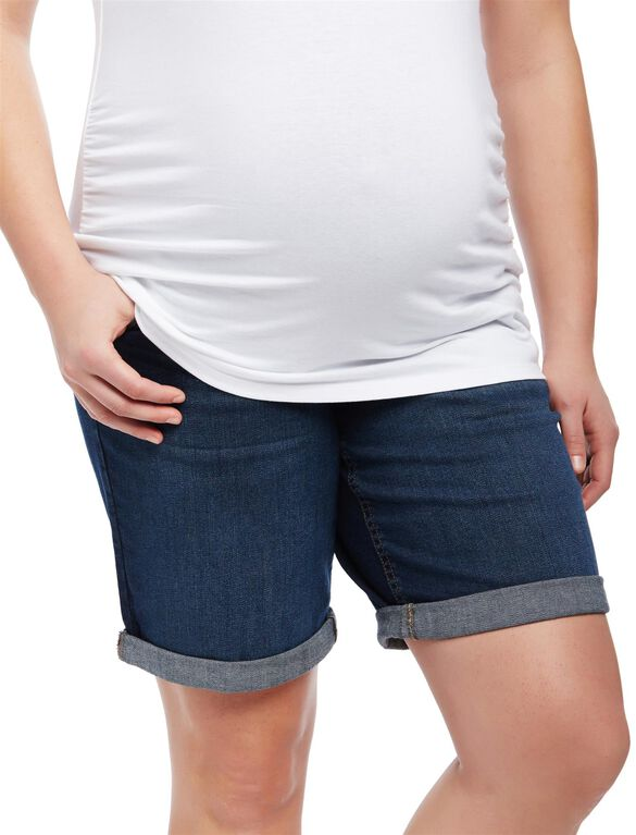 Plus Size Secret Fit Belly Roll Hem Maternity Shorts, Dark Wash