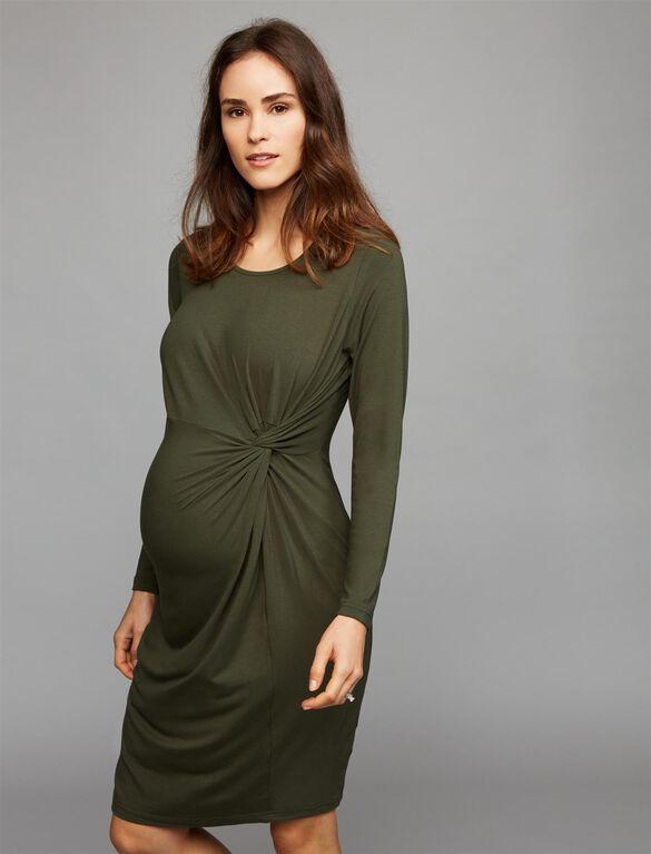 Ripe Side Twist Maternity Dress, Green