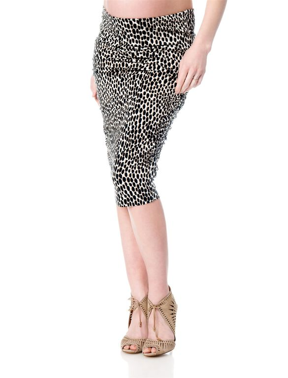 Isabella Oliver No Belly Maternity Skirt, Taupe Dot Print