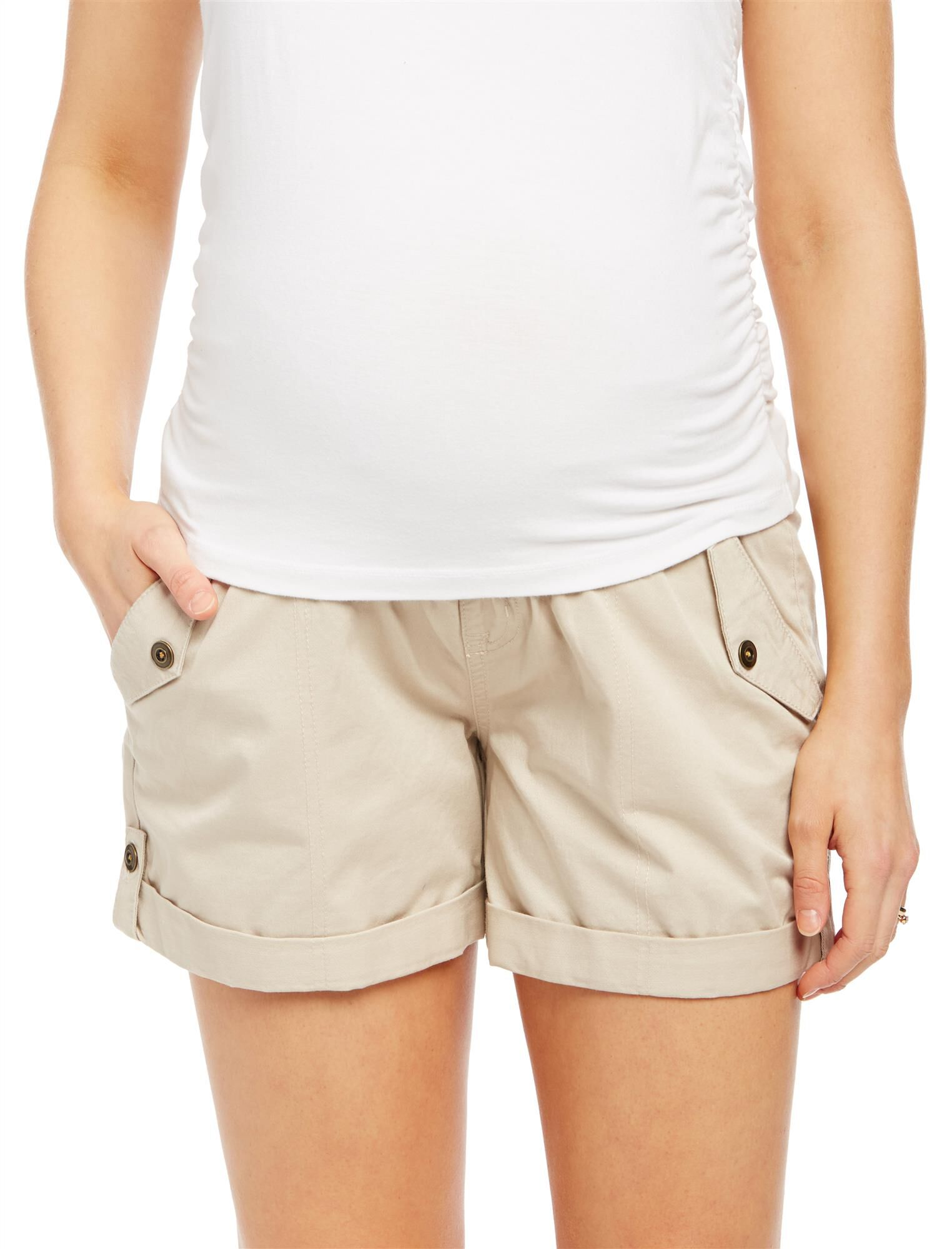 Secret Fit Belly Roll Hem Maternity Cargo Shorts