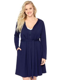 Bump In The Night French Terry Maternity Robe, Navy