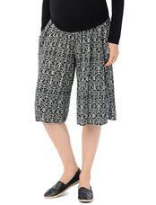 Smock Waist Challis Wide Leg Maternity Pants, Black/White Printe