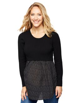 Knit Woven Maternity Sweater, Black