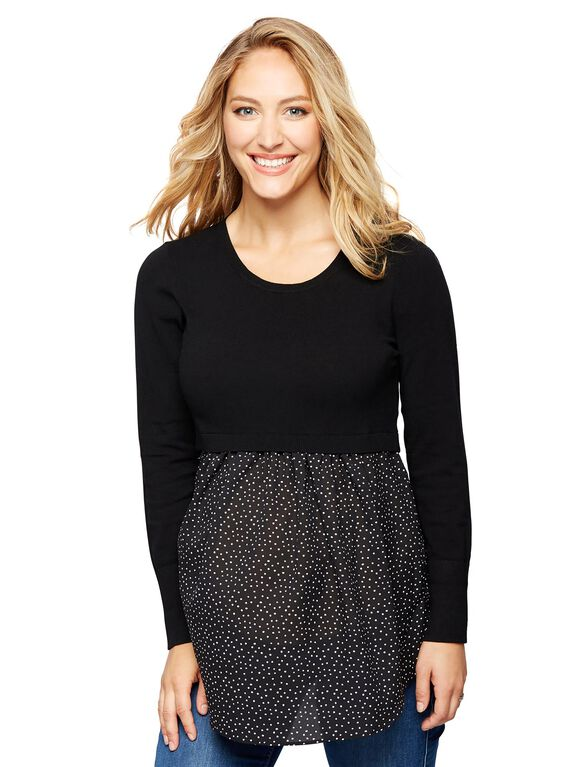 Knit Woven Maternity Sweater, Black