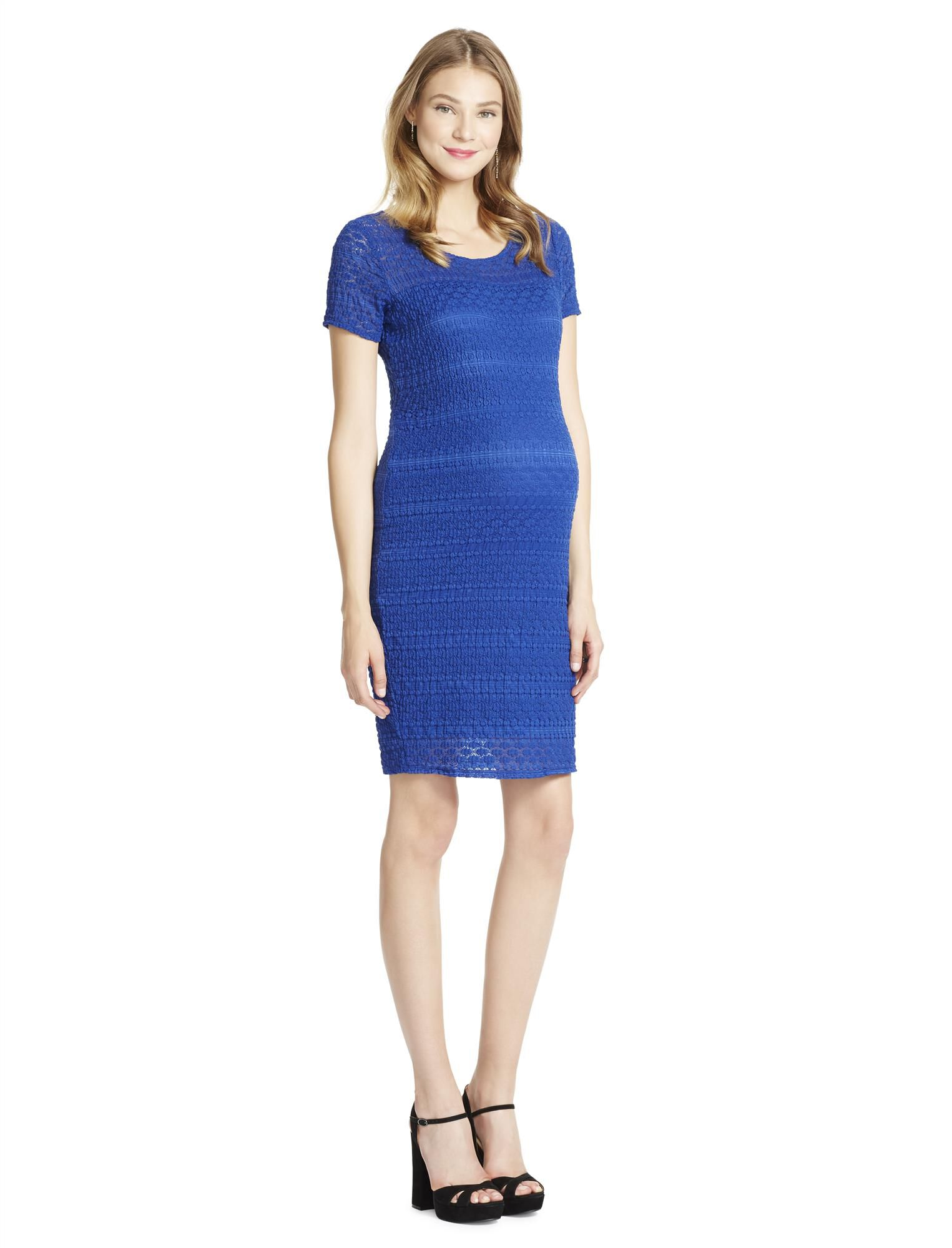Jessica Simpson Lace Bodycon Maternity Dress- Blue