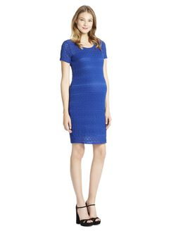 Jessica Simpson Lace Bodycon Maternity Dress- Blue, Blue