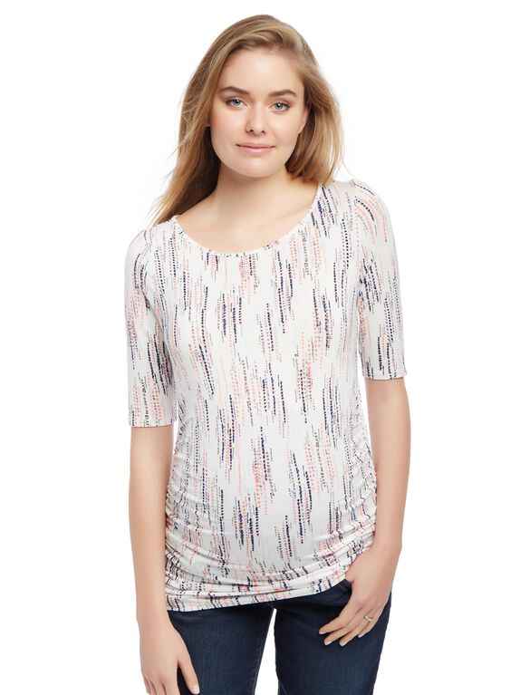 Keyhole Side Ruched Maternity Tee, Egret Dripping Dot