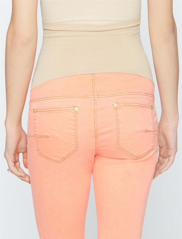 Luxe Essentials Denim Secret Fit Belly Twill Skinny Leg Maternity Pants, Coral