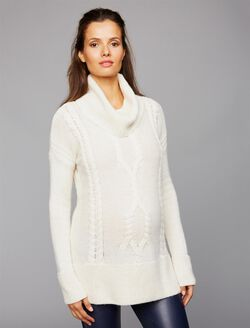 Cowl Cable Knit Maternity Sweater, Ivory