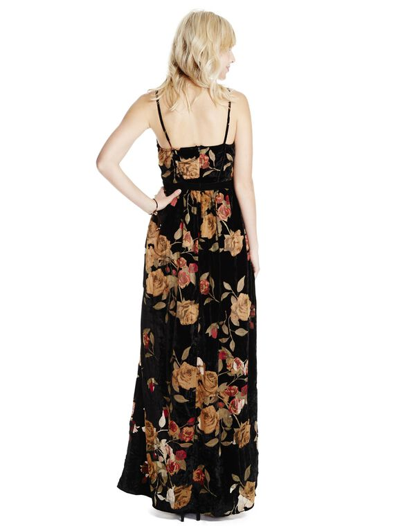 Jessica Simpson Velvet Floral Maternity Maxi Dress, Blur Print