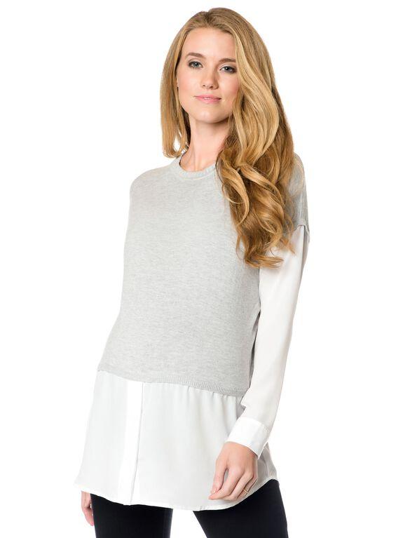 Maternity Sweater, Grey/Ivory