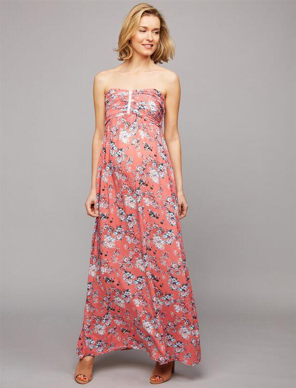 Envie De Fraise Strapless Maternity Maxi Dress, Coral Print