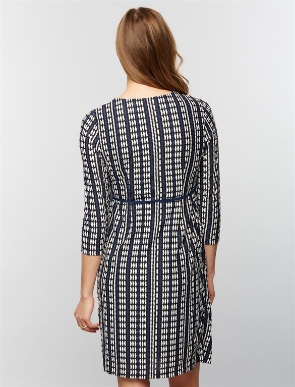 Textured Maternity Wrap Dress, Geo Stripe Print