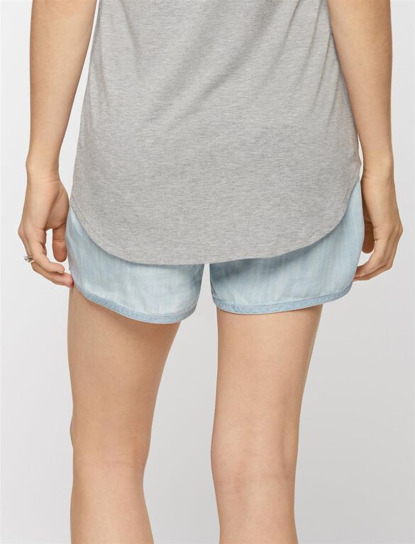 Pull On Style Chambray Maternity Shorts, Washed Chambray