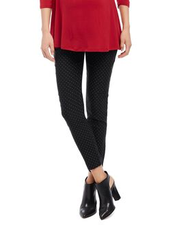 Secret Fit Belly Skinny Ankle Maternity Pants- Print, Black/White Dot
