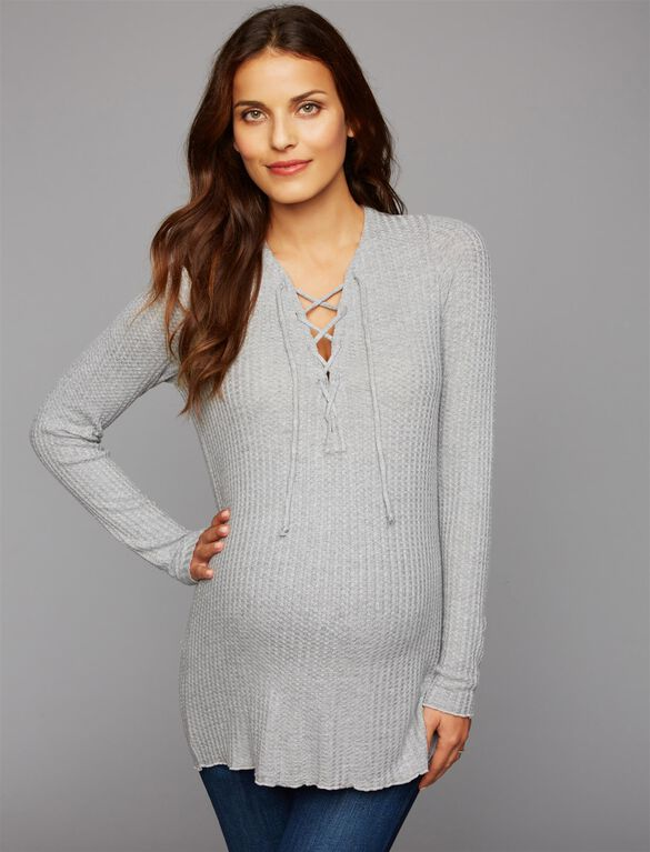 Chaser Lace Up Maternity Top, Grey