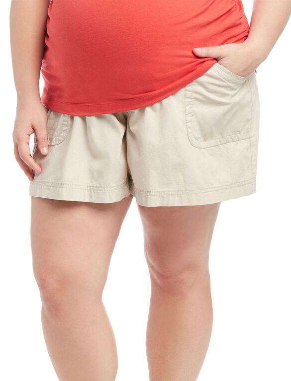 Plus Size Secret Fit Belly Roll Hem Maternity Shorts, Oat