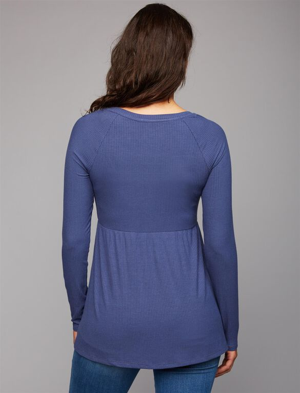 Rib Knit Maternity T Shirt, Blue